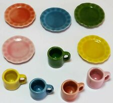 10-Piece Dollhouse Miniature Ceramic Set * Doll Mini Food Plates Cup Dishes c170