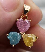 18K Yellow Gold Filled - Heart Clover Blue/Pink Ice Quartz Topaz Zircon Pendant