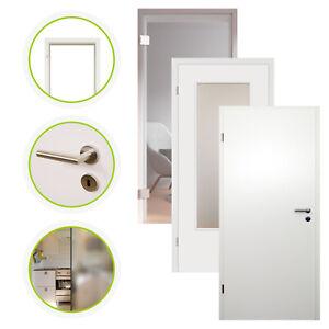 Zimmertür Innentür Komplettset Tür mit Zarge HORI Weißlack Glas Türgriff Glastür
