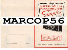 PDF Depliant Microcamera Fotografica 18x24 SIMPLEX DUCATI SOGNO Bologna Anni 50