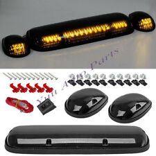 3PC Smoke Cab Roof Running Amber LED Lights for 02-07 Chevy Silverado/GMC Sierra