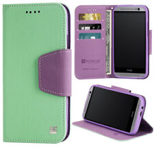 MINT PURPLE INFOLIO WALLET CREDIT CARD ID CASH CASE STAND FOR HTC ONE M8 (2014)