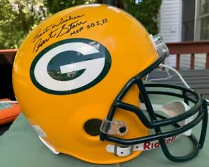 BART STARR Autographed FULL-SIZE REPLICA FOOTBALL HELMET  W/ DUAL# HOLOGRAMS