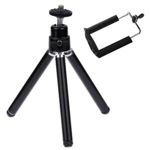 Black Mini Tripod + Phone Holder for iPhone 5,6,7 Samsung & GoPro 5,6,7