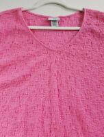 Jaclyn Smith Women's Short Sleeve Blouse Top XXL 2XL Pink Stretch V Neck Popover