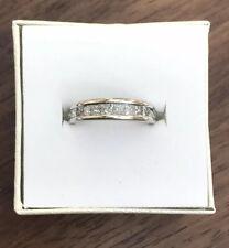 18ct White Gold Square Princess Cut Diamond Half Eternity Ring Size M