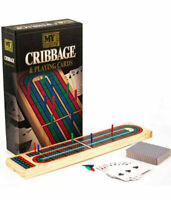 Deluxe Solid Wood Cribbage Board & Playing Cards Traditional Card Game