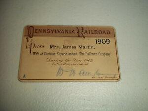 VINTAGE 1909 PENNSYLVANIA PRR RAILROAD TICKET PASS