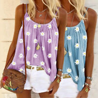 Women Boho Blouse Daisy Printed Vest Tank Tops Summer Loose Sleeveless T-Shirt