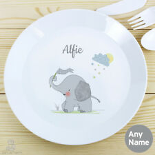 PERSONALISED Kids Plate, Elephant. Plastic CHILDRENS Toddlers Name Dinner Plate