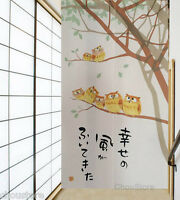 Japanese Noren Doorway Curtain Home Decor Door Curtain Lovely Cute Owls Family