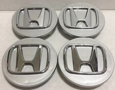 "4 Pcs Wheel Center Cap, Honda, Silver Chrome Logo, 69 MM / 2.75"", H1"