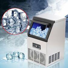 50kg Auto Commercial Ice Maker Cube Machine Stainless Steel Bar 110Lbs 230W 220V