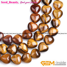 Natural Heart Yellow Tiger 's Eye Gem Stone Beads For Jewelry Making Strand 15''