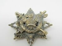 Vintage Crest Coast of Arms Star Pin Crossed Sword Axe Crown Design Metal