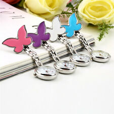 Butterfly Nurse Watch Chrome Clip Pocket Watch for Pouch with Spare Battery UK.