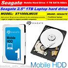 "1TB Seagate Mobile 2.5"" Internal Laptop Hard Drive SATA III 7mm 5400RPM"