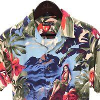 NAUTICA Men's M Medium Hawaiian Shirt Vintage Linen Blend Aloha Girl Floral