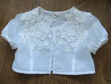 BNWT Girls Monsoon Ivory Floral Lace Detail Cropped Elysia Jacket Age 9-10 yrs