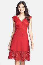 Tadashi Shoji Lace Pintuck Jersey A-Line Dress(  Size XL)