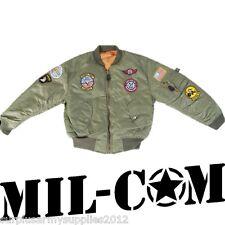 Kids Ma1 Flight Jacket Pilot Flying RAF Boys Girls Army Small