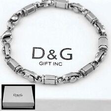 """DG Men's 8.5"""" Silver.Stainless Steel 6mm,Link Chain Bracelet*Unisex + BOX"""