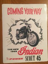 Tin Sign Vintage 1968 Indian Motorcycle Scout 45