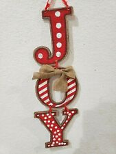 NEW Christmas Red White Stacked JOY Hanging Wall Sign Home Decor