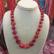 Fashion Natural 10-15mm Red Sea Coral Irregular Beads Necklace Chains 18""