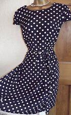 Gorgeous ❤️ Wallis Polka Dot Dress Size  14 Blue White 1950's Rockabilly Swing
