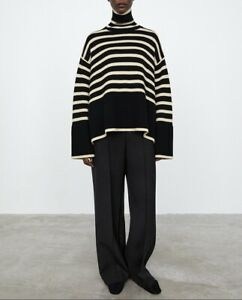 Toteme High Collar Wool Blend Striped Sweater Black/Light Sand