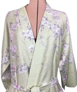 Vintage kimono one size Ichiban Japan cherry blossom green pink white robe gift^