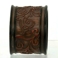 Napkin Rings Set Of 4 Brown Round Engraved Resin Plastic Place Setting Faux Wood