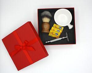 Classic Shaving Gift Set for Chrismas(Barber Pole Razor,Porcelain Mug,Woodbrush)