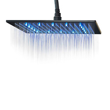 16 inch Square Rainfall Shower Head with LED Light Oil Rubbed Bronze Top Sprayer