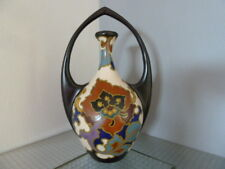 Gouda Holland, Regina Rosario, beautiful handled art pottery vase.