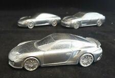 3x Porsche Limited Ed. Chrome Models 1:43 - 911 Turbo; Carrera S; Panamera Turbo