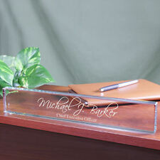 Engraved Executive Name Plate - Script Personalized Desk Nameplate Office Gift