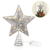 Christmas Tree Topper Star with String Lights Xmas Bling Decor for Home Party E