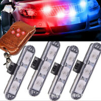 16 LED Red & Blue Police Strobe Flash Light Dash Warning Lamp+ Remote Control