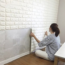 2.6Ft x 2.3Ft Peel and Stick 3D Wall Panels Wall Decor, White Brick Wallpaper