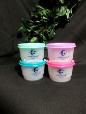 Tupperware NEW Set of 4 Take 5 SNACK  CUPS Bowls Pink & Green Blue & Pink Seals