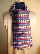 100% woven silk men's cravat/scarf  Pattern of circles in blue/purple/grey NEW