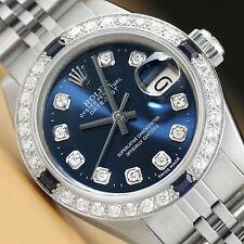 Señoras Diamante Zafiro Rolex Datejust 18K Oro Blanco Y Acero Reloj con Cuadrante Azul