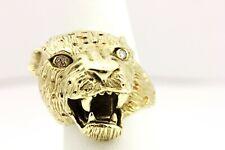 DW 14k yellow gold diamond cat ring leopard jaguar tiger panther 19.29g size 7.5