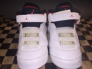 NWOB NIKE AIR JORDAN 5 RETRO Crib Baby Infant Shoes WHITE RED BLACK 3-C