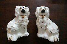 """Pair Vintage Beswick Staffordshire Wally Mantle Dogs 5.5"""" Figures With Labels"""