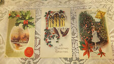 lot 3 Antique Christmas Post Card 2 embossed 1912 postmark Nevada City Ca Holly