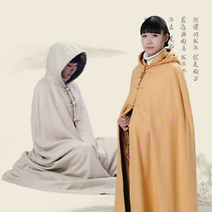 Double thickening Warm Buddhist Meditation Zen Monk Cape Cloak Long Robe Gown