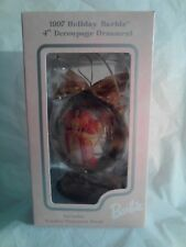 """1997 Holiday Barbie 4"""" Decoupage Ornament with Wooden Ornament Stand New In Box"""